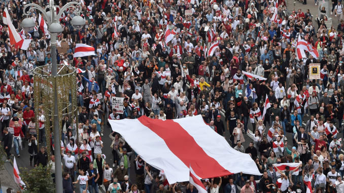 Coalition of Protest Groups Marches in Minsk