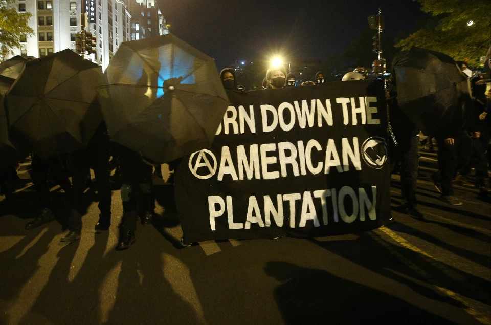 Anarchist Bloc Marches in DC on Election Night