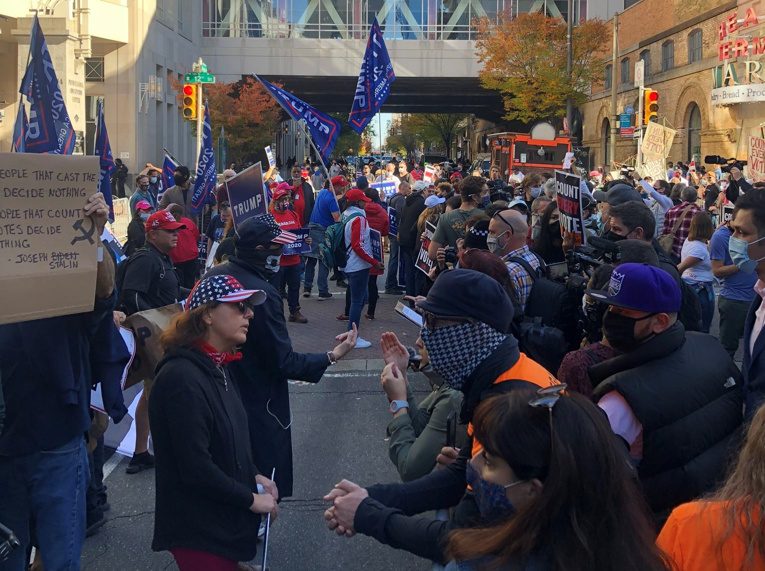 Counterprotests Take Place in Philadelphia at Pro-Trump Protest