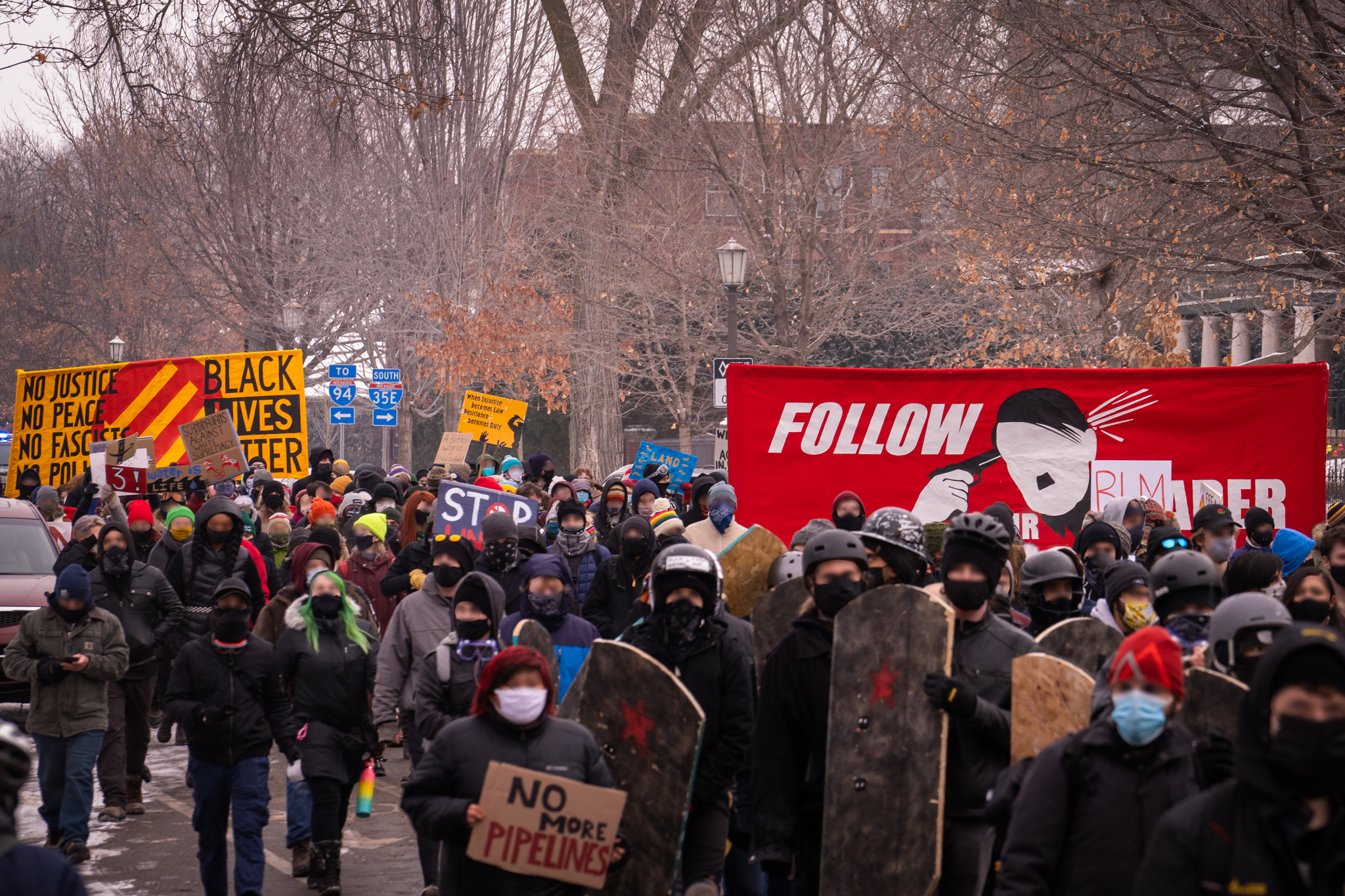 Protesters Gather in St. Paul for People's March Against Police, Pipelines, and Fascism