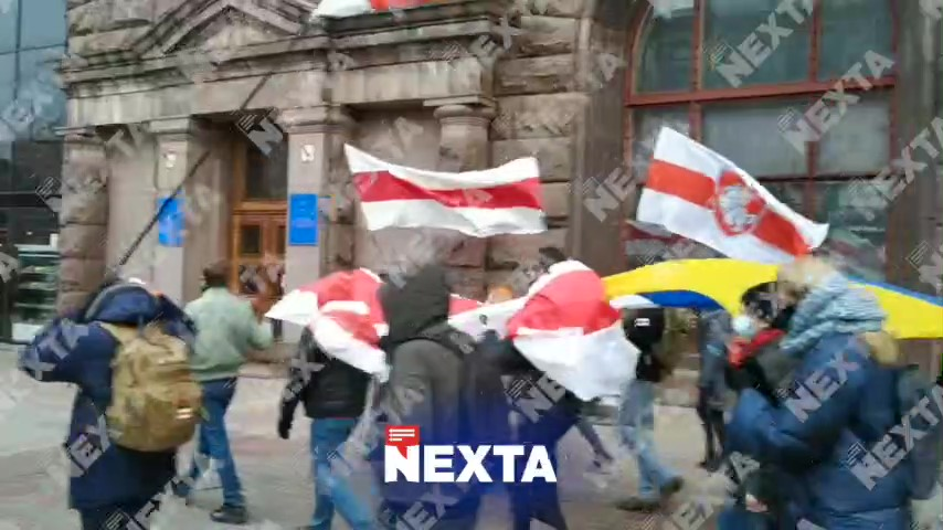 Protesters March in Kyiv in Solidarity With Belarus Demonstrations