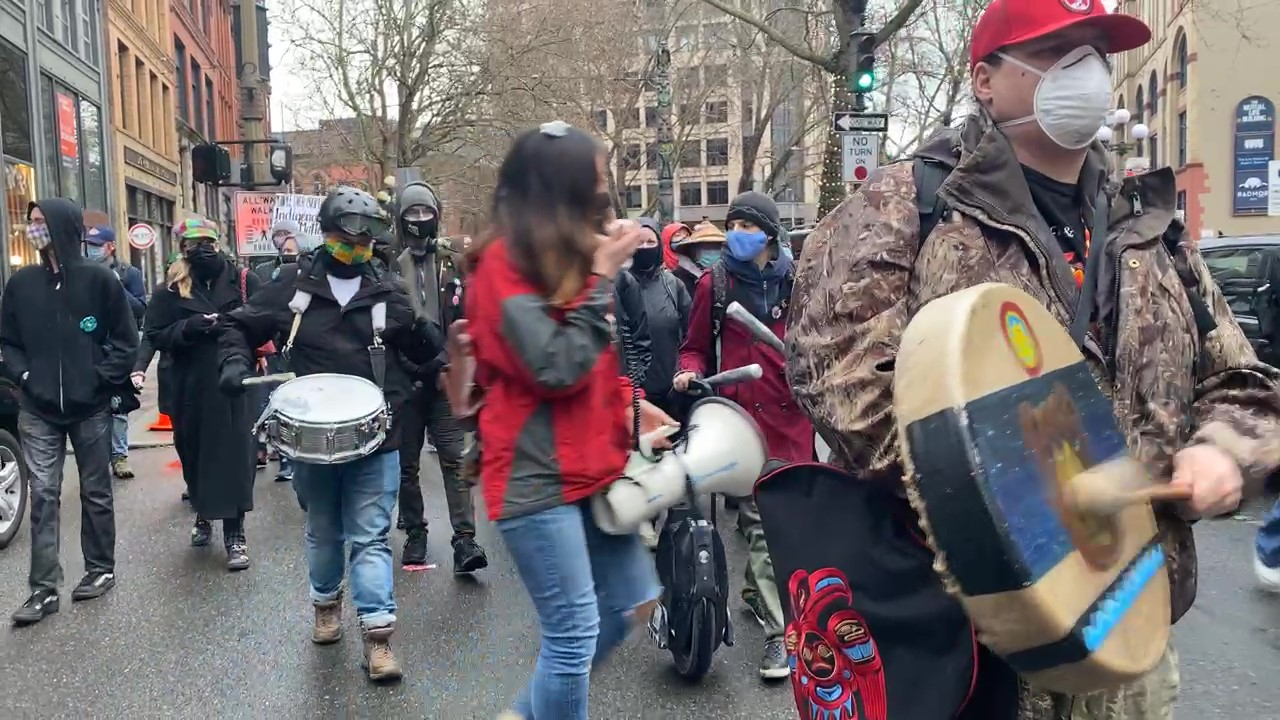 Seattle Protesters Participate in Dexmaamxsgism Da Libaalx Indigenous-Led March