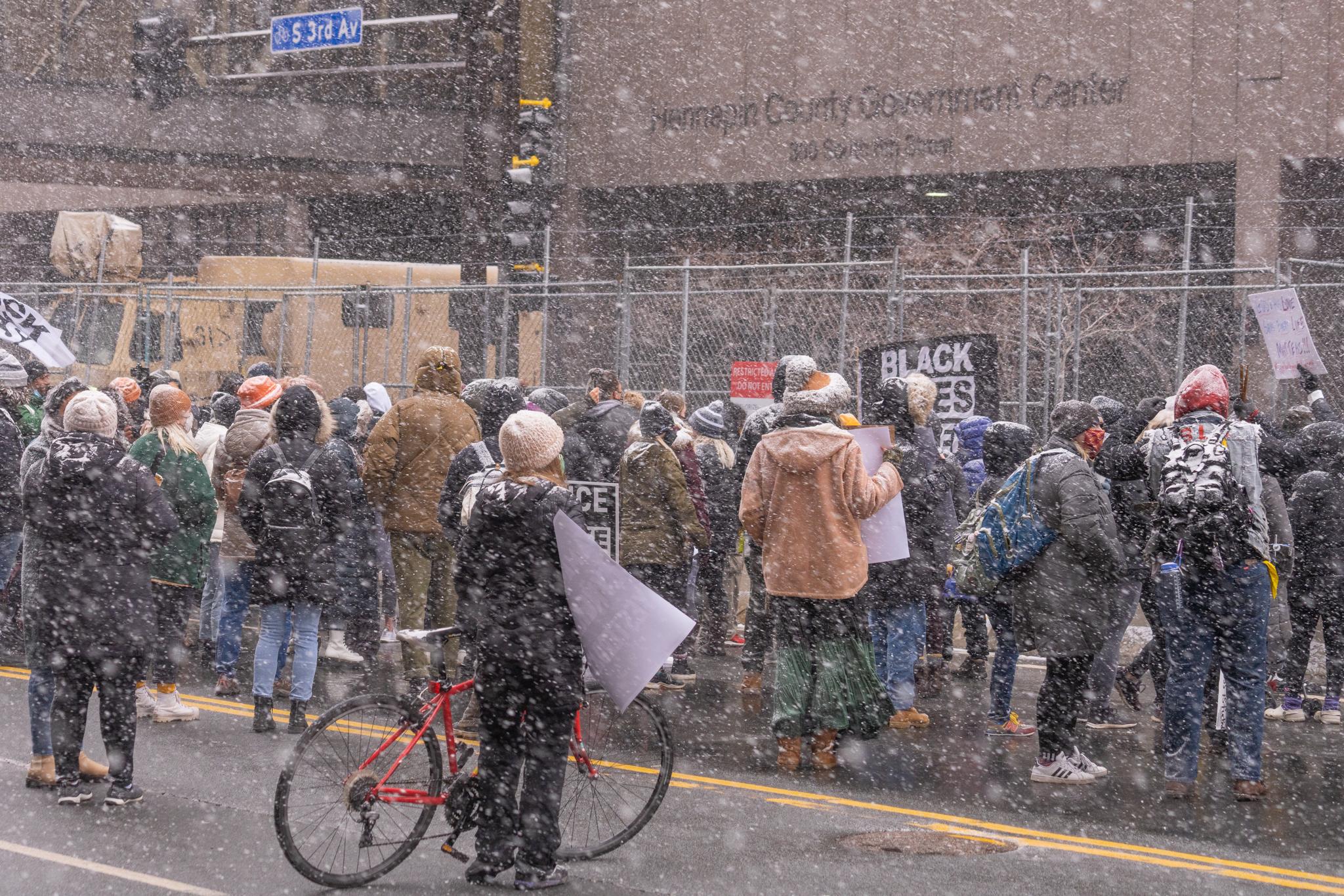 Dozens in Minneapolis March on Government Center Demanding Fair Process in Derek Chauvin Trial
