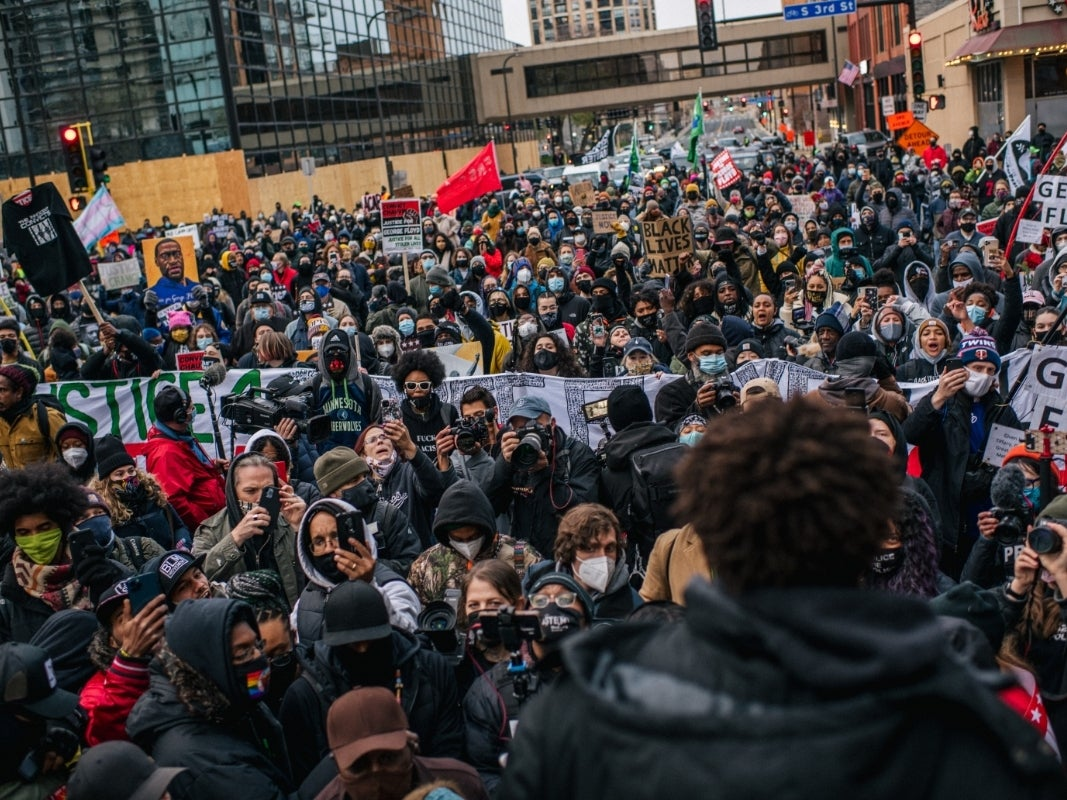1000 Protesters March in Minneapolis After Derek Chauvin Conviction