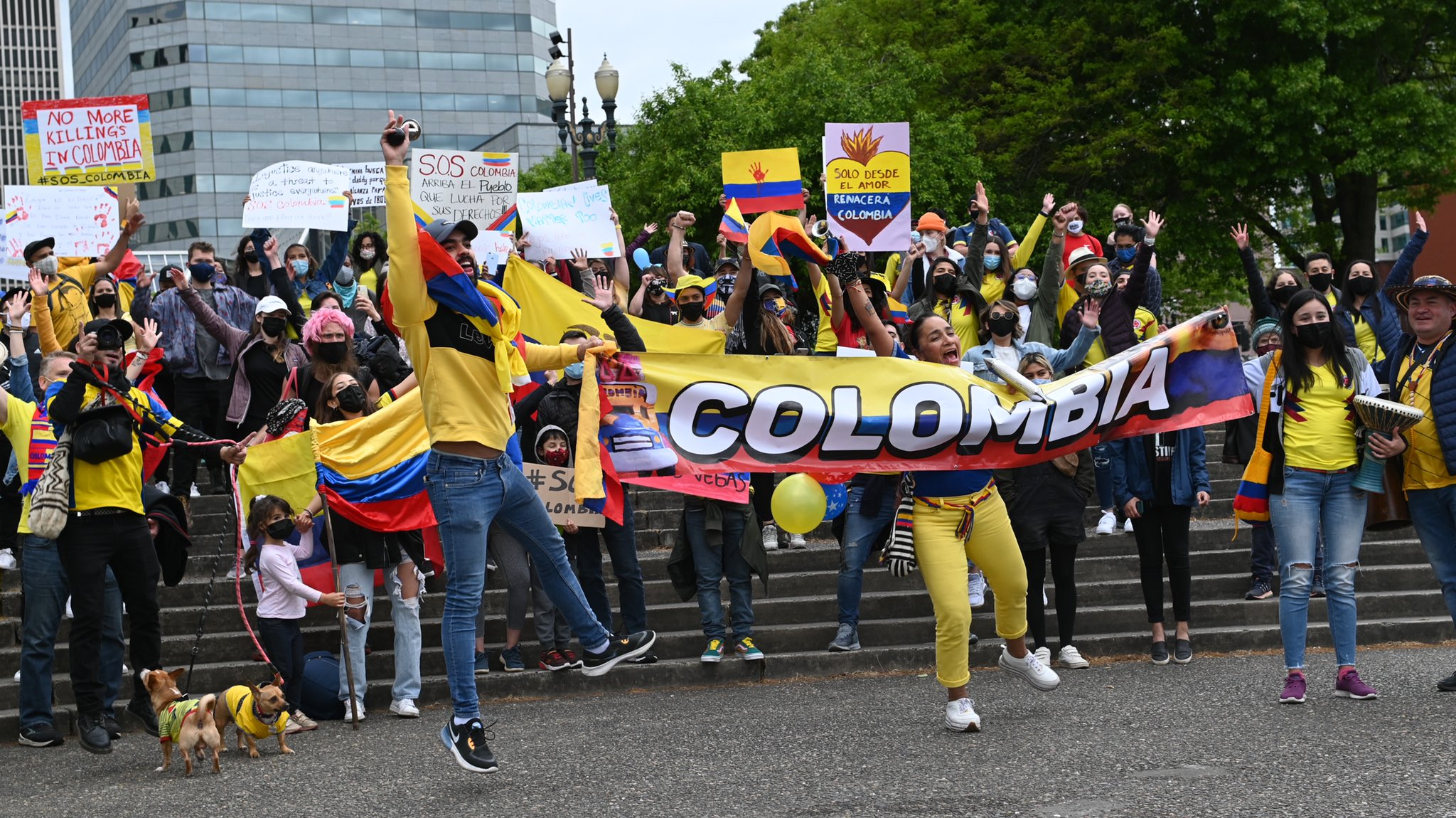 150 Portland Protesters March in Solidarity With Uprising in Colombia